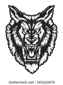 Wolf face vector illustration. Angry wolf face with open mouth showing canine. Angry dog emblem.