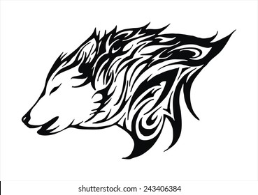 Lineart Wolf Tattoo : Tribal wolf tattoo images stock photos & vectors shutterstock