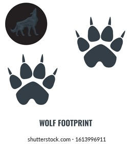 Wolf footprint. Flat and solid color vector illustration.