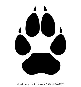 Wolf footprint imprint icon. Black paw of dangerous forest predator with clear markings and adult sharp vector claws.