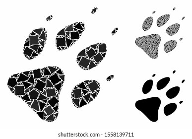 Wolf footprint mosaic of rough elements in different sizes and color tints, based on wolf footprint icon. Vector trembly elements are combined into collage.