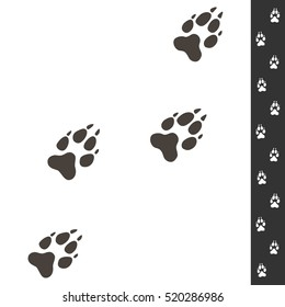 Wolf footprints. Vector illustration isolated on white. Wildlife design. Four wolf paws prints and sample of footsteps.