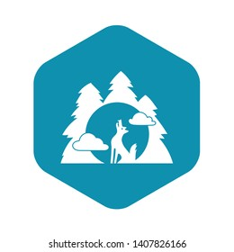 Wolf forest howl icon. Simple illustration of wolf forest howl vector icon for web design isolated on white background