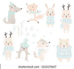 Wolf, fox, bunny, bear, raccoon, reindeer, penguin baby winter set. Cute christmas animal in warm sweater, scarf. Cool illustration for nursery, t-shirt, kids apparel, baby shower. Scandinavian design