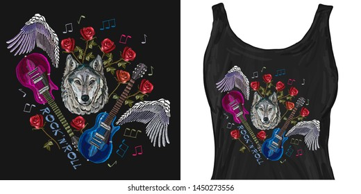 Wolf, guitar, wings, roses, classical embroidery, music. Trendy apparel design. Template for fashionable clothes, modern print for t-shirts, apparel art