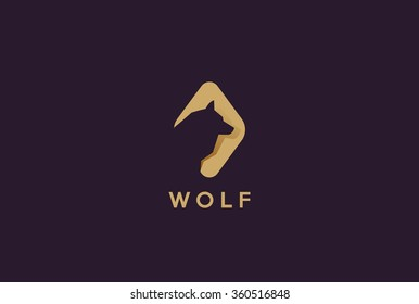 Wolf Head Abstract Logo design template Negative space style. Dog Logotype zoo concept flat icon.