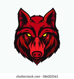 wolf head angry face logo with red color
