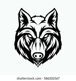 wolf head angry face logo with black and white