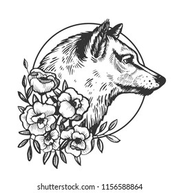 Wolf head animal engraving vector illustration. Scratch board style imitation. Black and white hand drawn image.