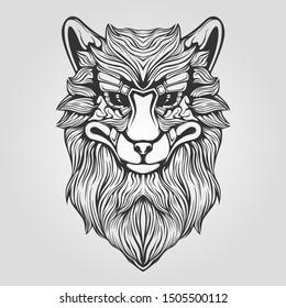 wolf head detail line art tattoo