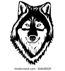 Wolf head detailed logo. Black and white vector illustration can be used as logo or emblem and for sport or hunting design products.