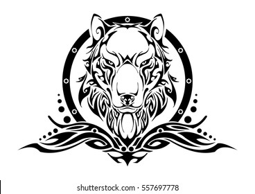 Wolf head and frame symmetry balance tribal tattoo silhouette vector with white isolate background