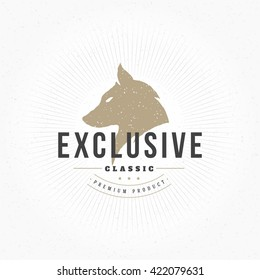 Wolf head Hand Drawn Design Element in Vintage Style for Logotype, Label, Badge and other design. Retro vector illustration. Wolf Head Silhouette, Retro Logo.