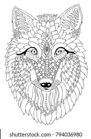 Wolf head. Hand drawn picture. Sketch for antistress adult coloring book. Vector illustration for coloring page, isolated on white background. Template for poster, t-shirt or tattoo.