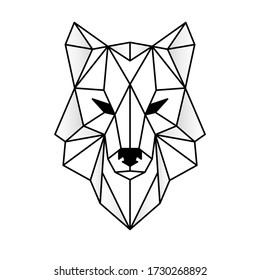 Wolf head icon. Abstract triangular style. Contour for tattoo, emblem, logo and design element. Hand drawn sketch of a wolf