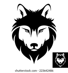 Wolf Head Icon in black and white. This is vector illustration ideal for a mascot and T-shirt graphic. Inversion version included.