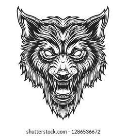 wolf head line art vector