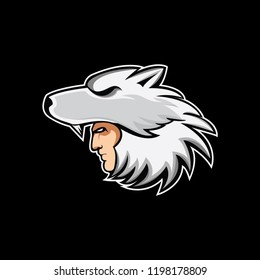 Wolf Head logo mascot for bussines