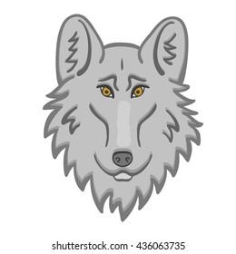 Wolf head Logo Mascot Emblem Good cartoon wolf.