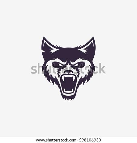 wolf head logo template design vector stock vector royalty free