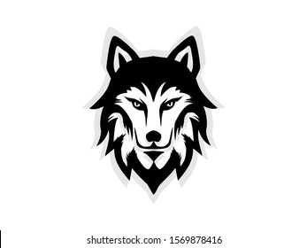 wolf head logo vector isolated on white. wolf head icon for  mascot brand.