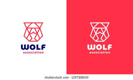 Wolf head Logotype template, positive and negative variant, corporate identity for brands, red product logo, vector design