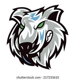 Wolf head with mascot cartoon feels