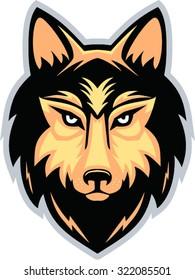 wolf head mascot isolated - vector illustration