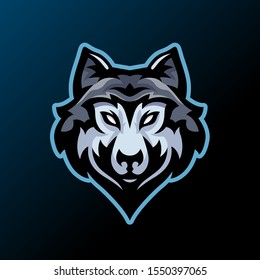 wolf head mascot vector illustration for gaming and sport logo