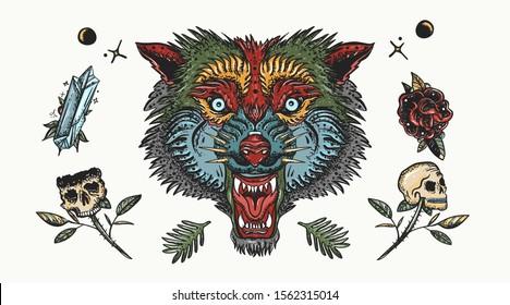 Wolf head. Old school tattoo. Halloween elements. Dark fairy tale art. Aggressive werewolf portrait, gothic tattooing style