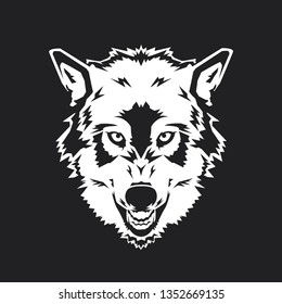 Wolf Head on the Black Background