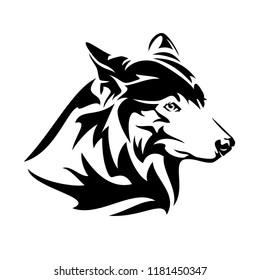 wolf head profile design - black and white vector animal