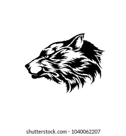 Wolf head. Silhouette vector illustration isolated on white background
