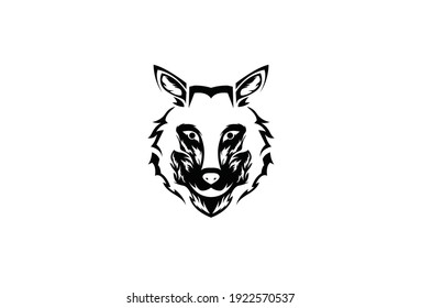 Wolf head silhouette vector on a white background