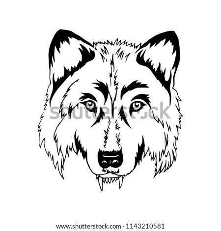 wolf head template painting vector illustration stock vector