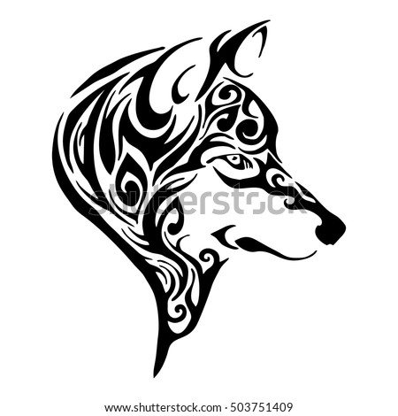 wolf head tribal tattoo sketch drawing のベクター画像素材