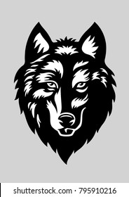 Wolf head - vector illustration / tattoo-art