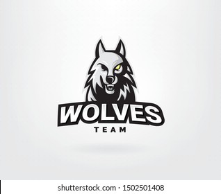 Wolf head vector logo concept. Professional wolf logo for a sport team. Wolves logo mascot sport illustration. Modern vector illustration template