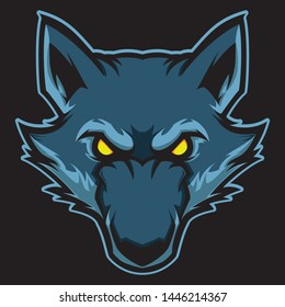 wolf head vector mascot template esport team