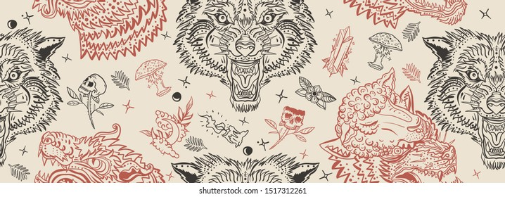 Wolf head vintage seamless pattern. Old school tattoo art. Retro style. Dark gothic background. Aggressive wolves traditional tattooing background. Magic fairy tale style. Werewolf in sheep clothing