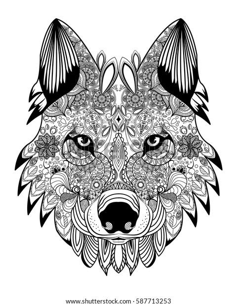 Wolf Head Zentangle Stock Vector Royalty Free 587713253