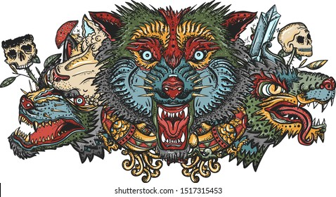 Wolf heads. Old school tattoo. Halloween elements. Dark fairy tale art. Werewolf in sheep clothing. Aggressive wolves, gothic tattooing style