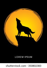 Wolf howling, designed using on moonlight background graphic vector.