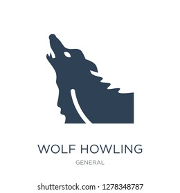 wolf howling icon vector on white background, wolf howling trendy filled icons from General collection, wolf howling vector illustration