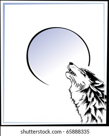 wolf howling at the moon. Vector.