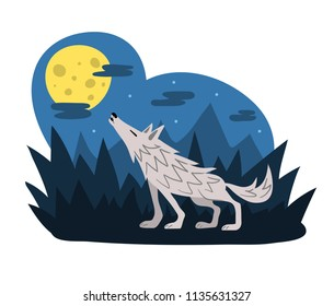 Wolf howling at the moon in the woods at night, flat style vector illustration. Midnight werewolf shapeshifting in the forest. Cute cartoon animal character. Halloween scene.