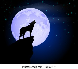 Wolf Howling in the Moonlight