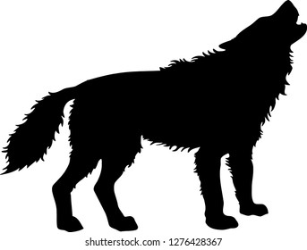 Wolf Howling, Silhouette, Canis Lupus, Endangered Animal Wild Life - Vector Illustration