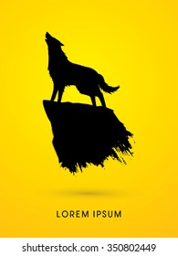 Wolf howling, silhouette graphic vector.