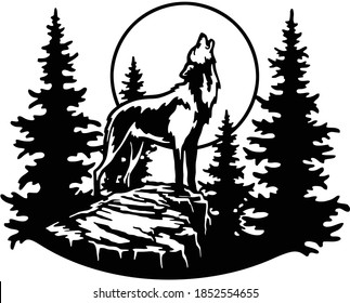 wolf howls at the moon - forest landscape, Wildlife Stencils - Forest Silhouettes for Cricut, Wildlife clipart, png Cut file, iron on, vector, vinyl shirt design.